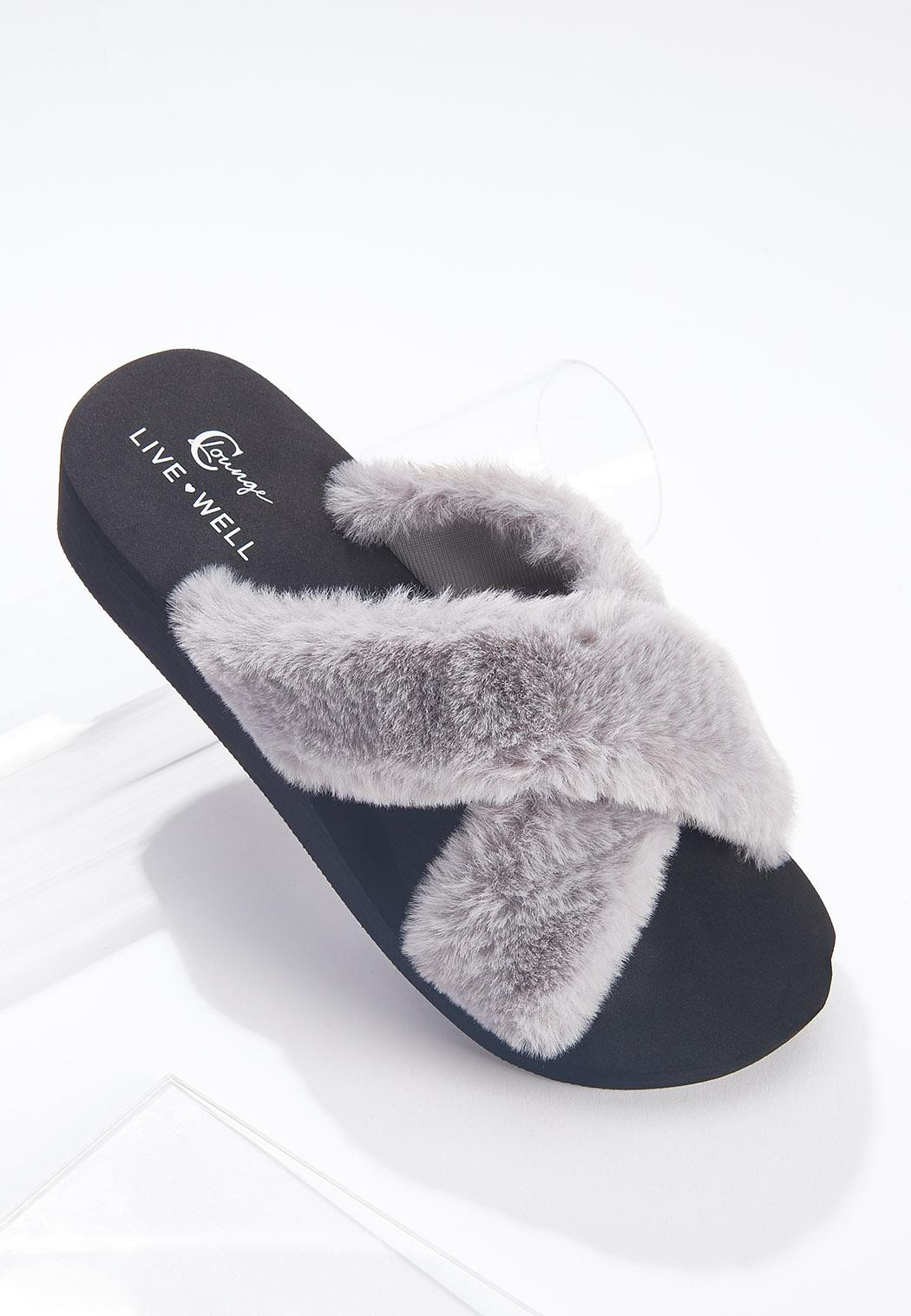 Fur Crossband Slides