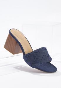 Denim Heeled Slide Sandals