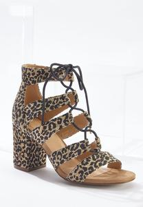 Wide Width Leopard Lace-Up Heeled Sandals