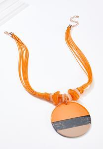 Apricot Pendant Statement Necklace
