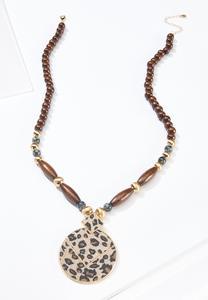 Beaded Leopard Pendant Necklace