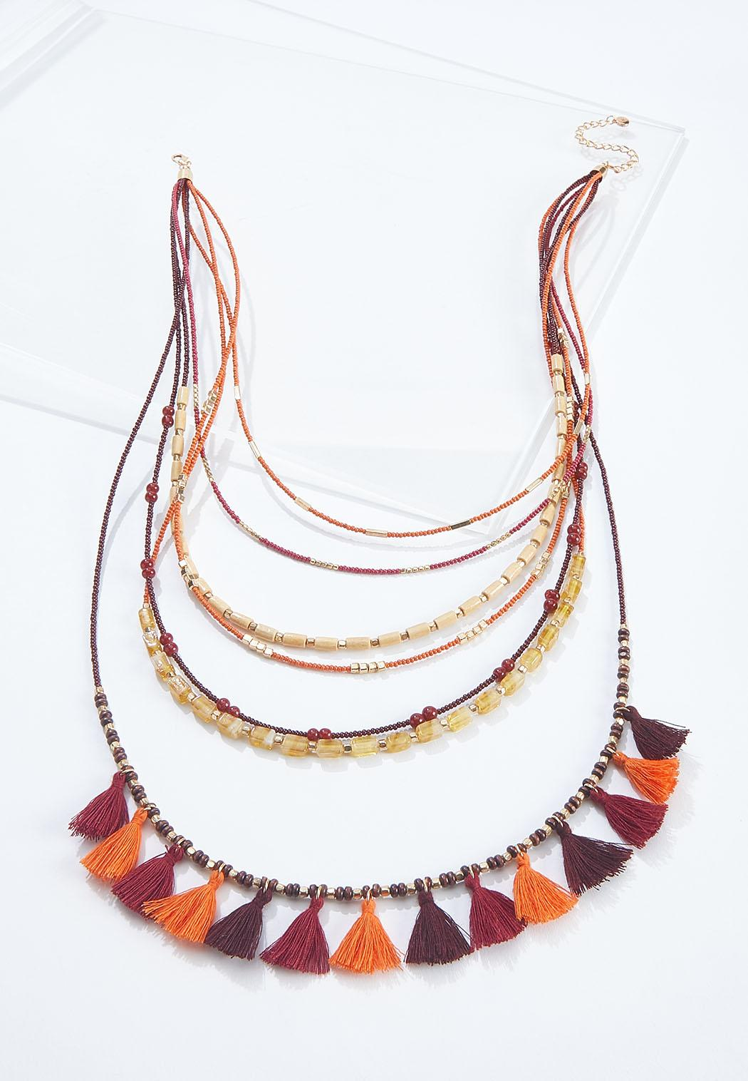 Mixed Layered Tassel Necklace
