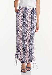 Cinched Aztec Maxi Skirt