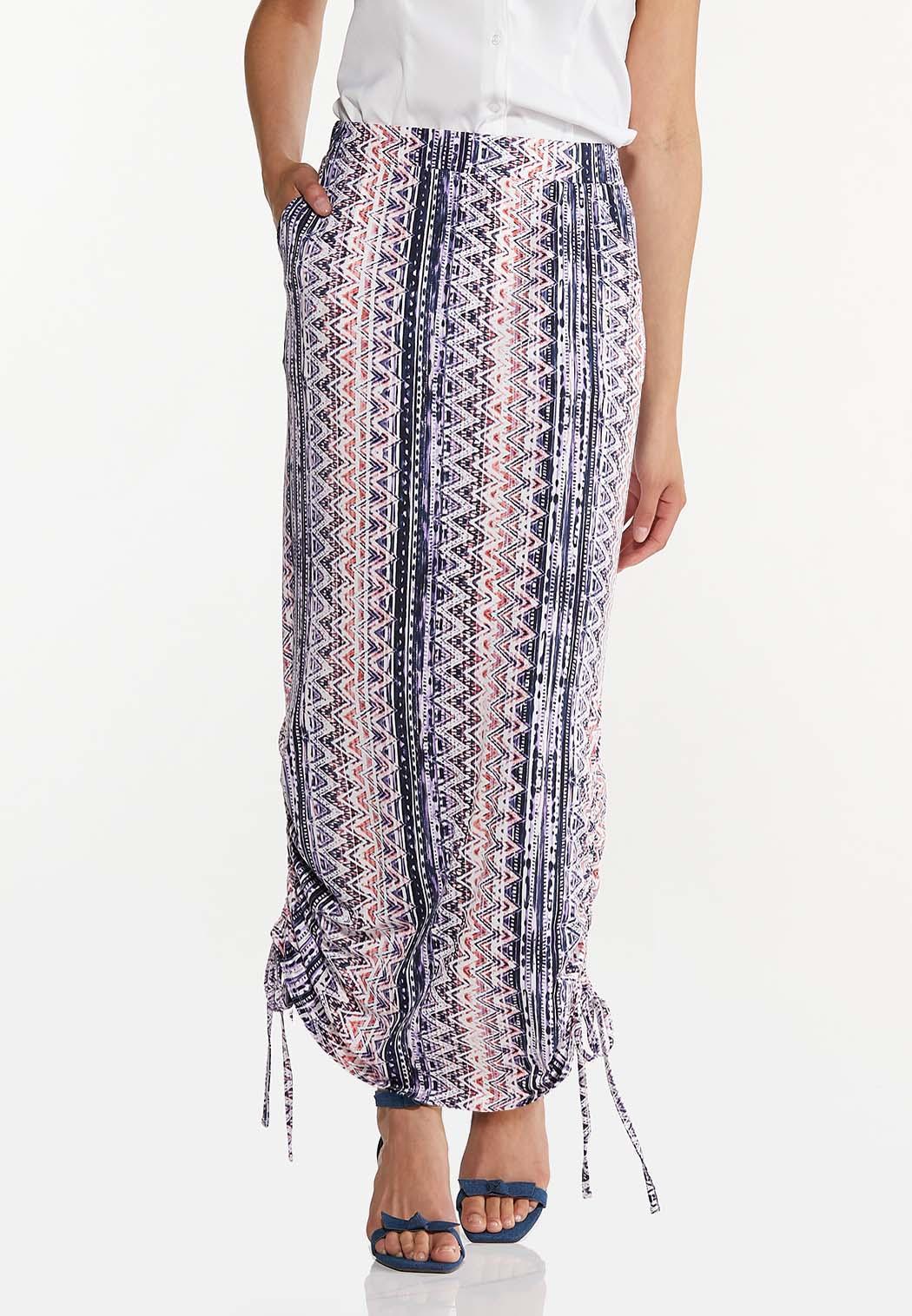 Plus Size Cinched Aztec Maxi Skirt