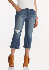 Cropped Distressed Flare Jeans