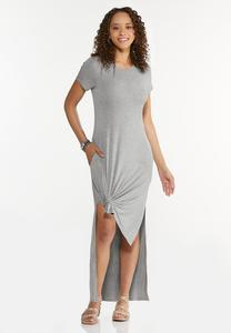 Plus Size Knotted Tee Maxi Dress