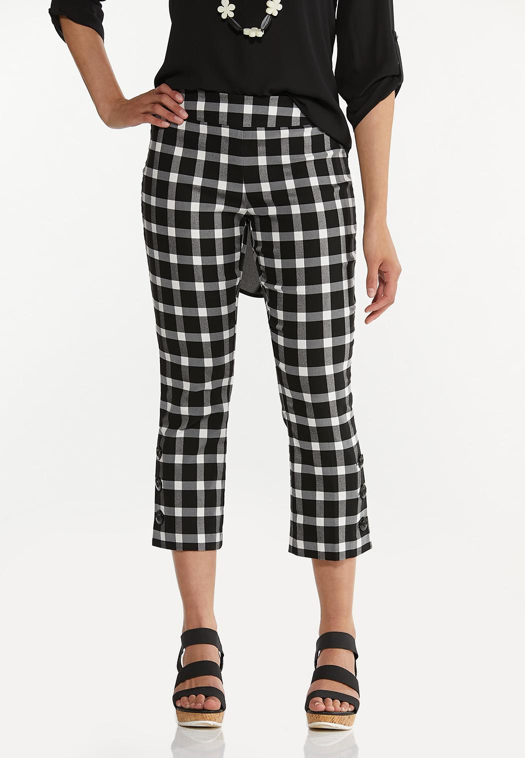 Cropped Gingham Flare Pants
