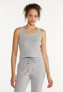 Plus Size Cropped Ribbed Tank Top
