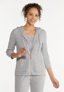 Plus Size Ribbed Zip Front Hoodie