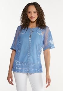 Plus Size Embroidered Mesh Pullover Top