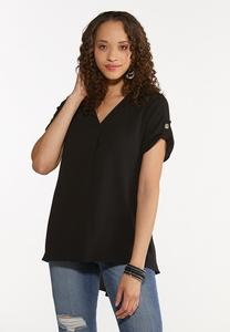 Plus Size Solid Crepe Top