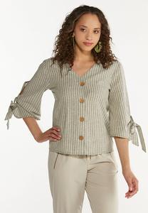 Plus Size Striped Linen Top
