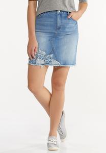Plus Size Patchwork Denim Skirt