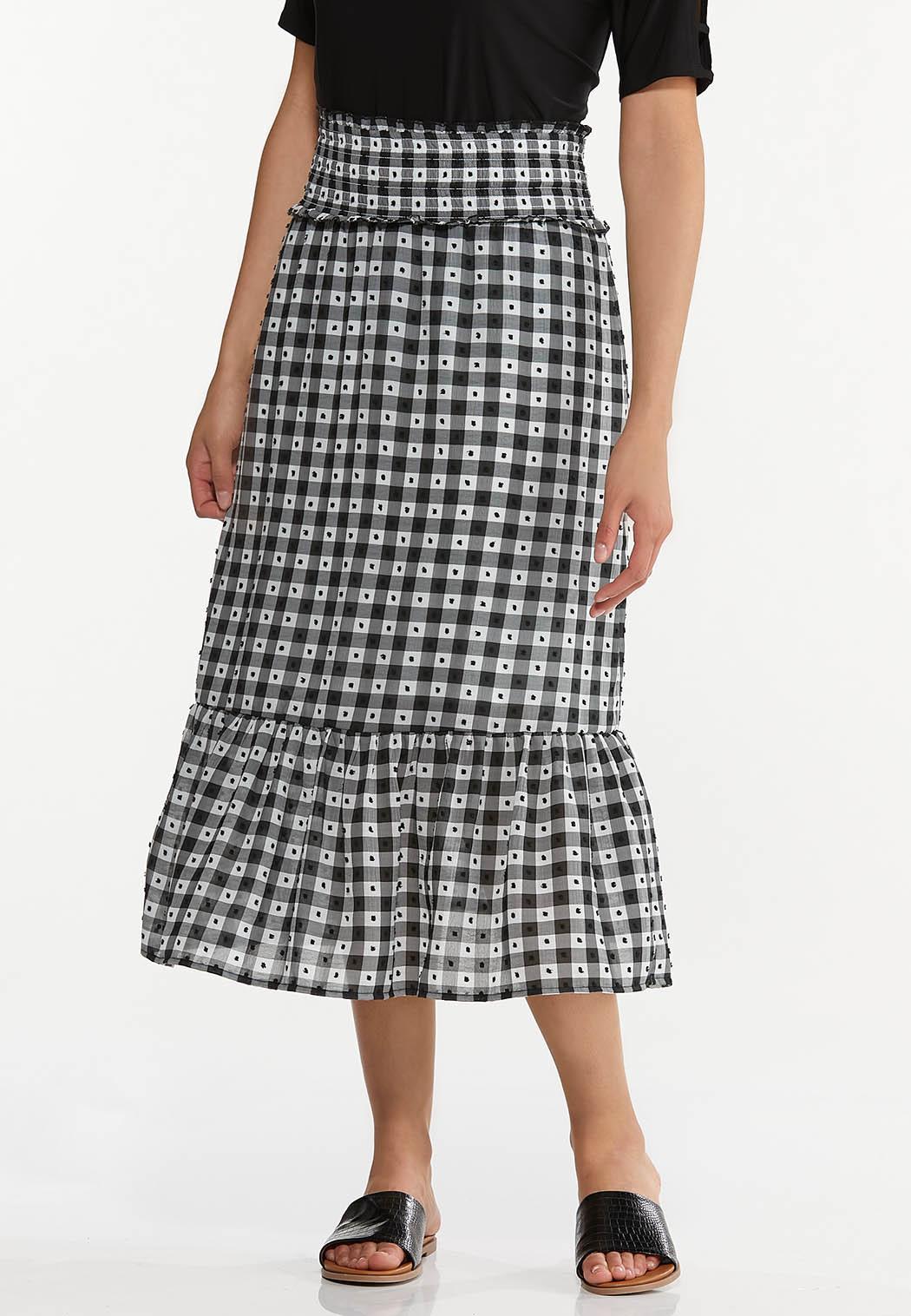 Smocked Gingham Midi Skirt