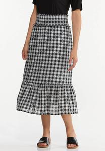 Plus Size Smocked Gingham Midi Skirt