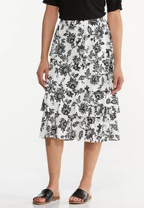 Tiered Sketch Floral Skirt
