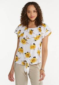 Plus Size Sunflower Tie Front Top