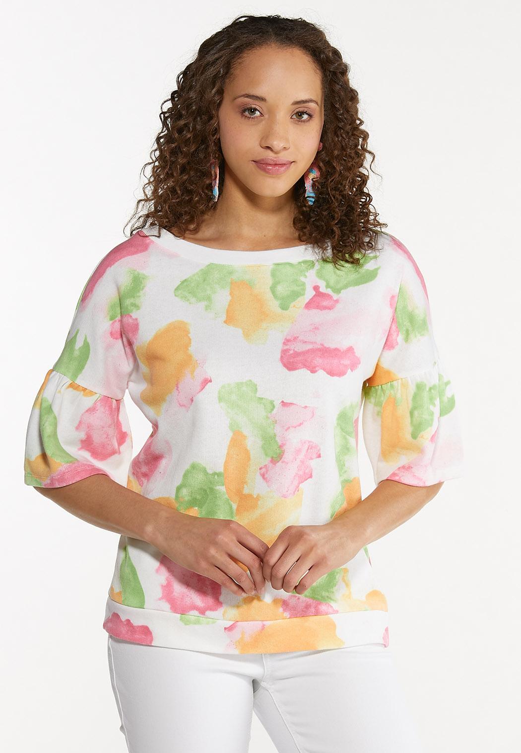 Plus Size Color Splash Sweatshirt