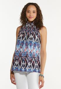 Plus Size Smocked Ikat Tank