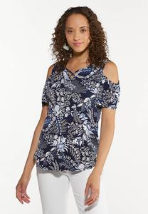 Plus Size Navy Floral Cold Shoulder Top
