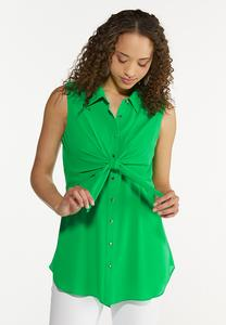 Green Tie Front Tunic
