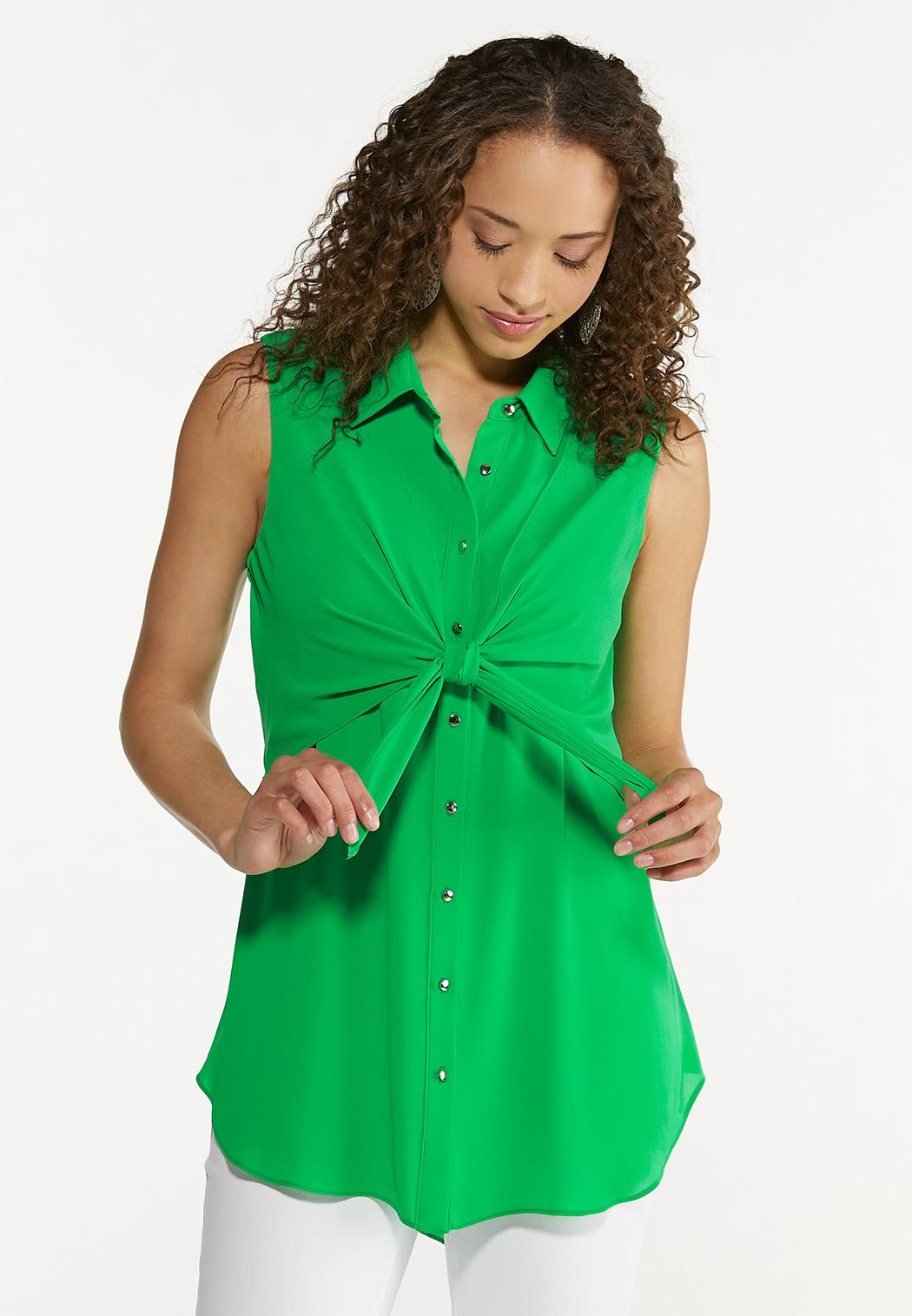 Plus Size Green Tie Front Tunic