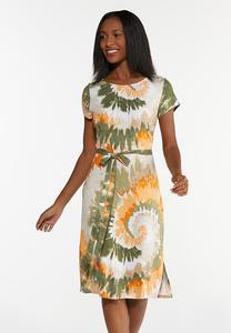 Plus Size Tie Dye Belted Dress