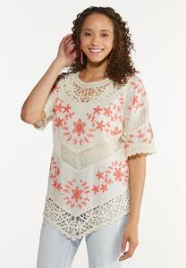 Plus Size Crochet Floral Tunic