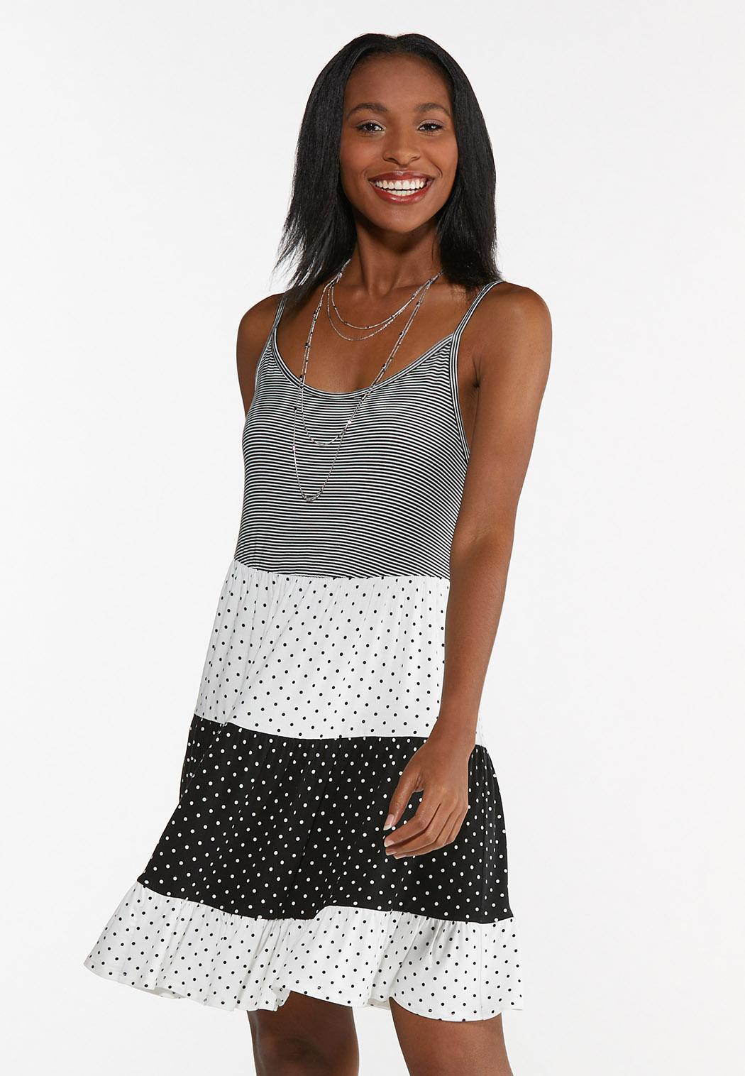 Dotted Stripe Swing Dress