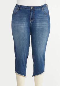 Cropped Studded Hem Jeans