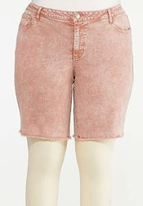 Plus Size Rose Denim Shorts