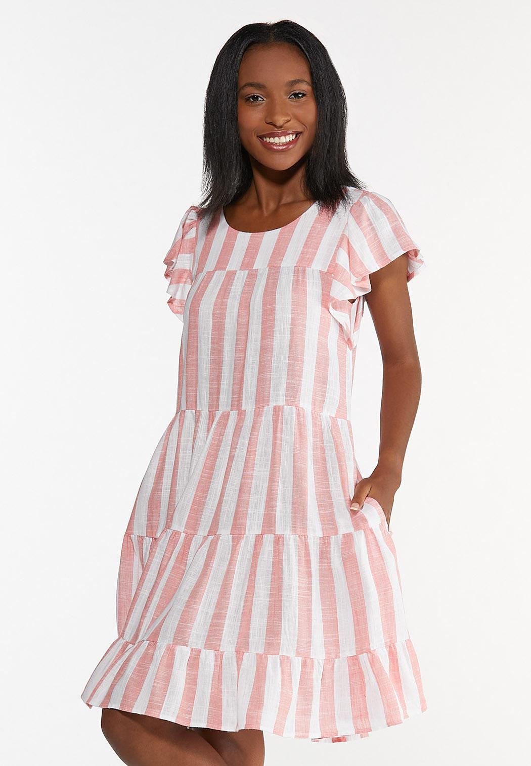 Peach Striped Linen Dress