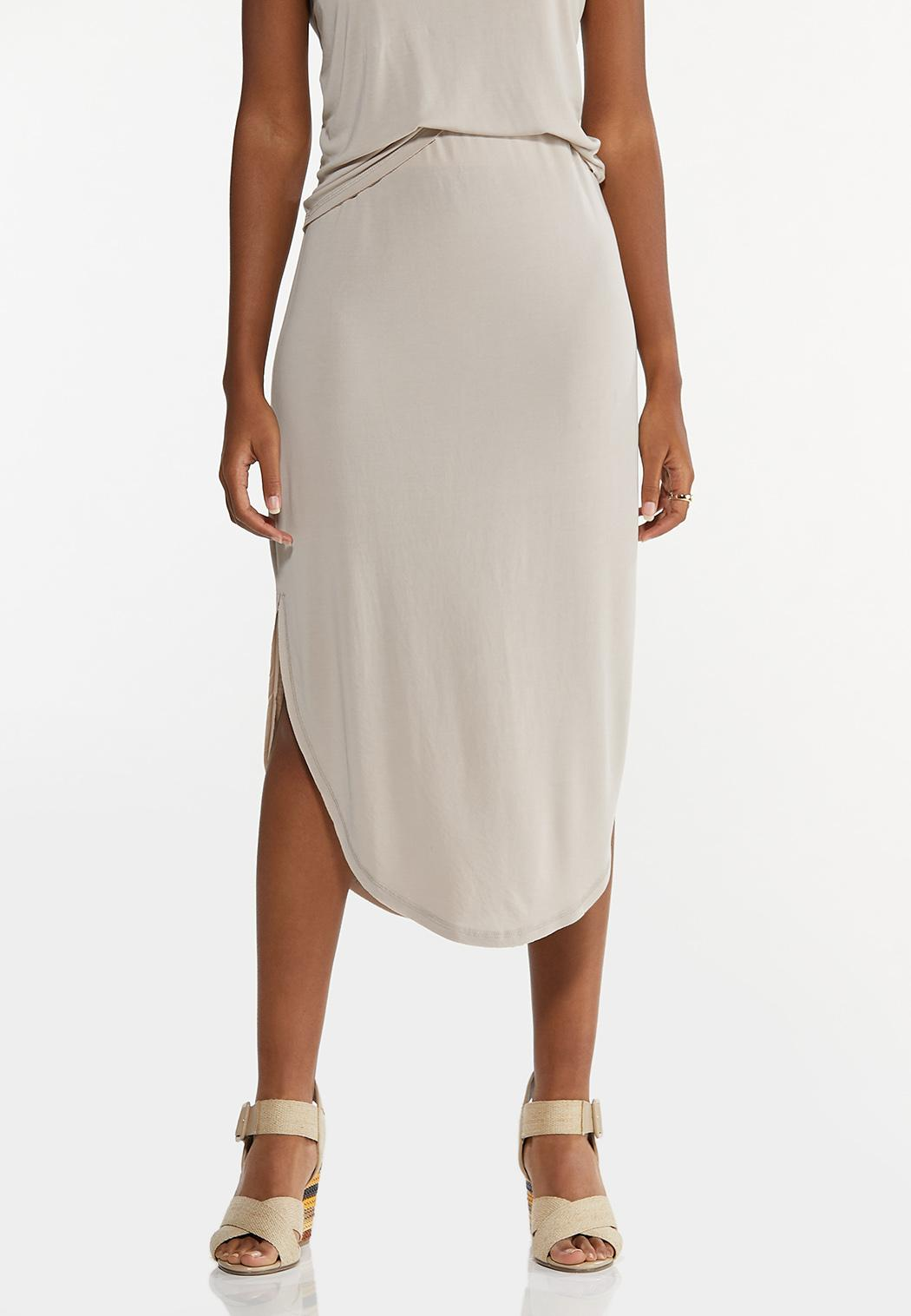 Plus Size Silky Seamed Skirt