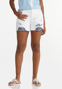 Hint Of Eyelet Denim Shorts
