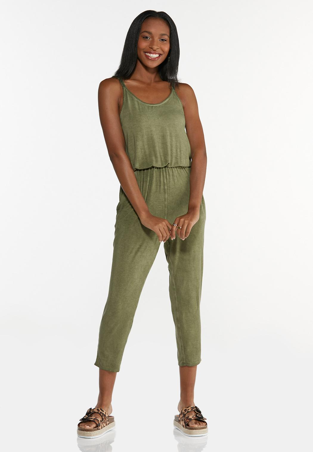 Cropped Dyed Olive Jumpsuit