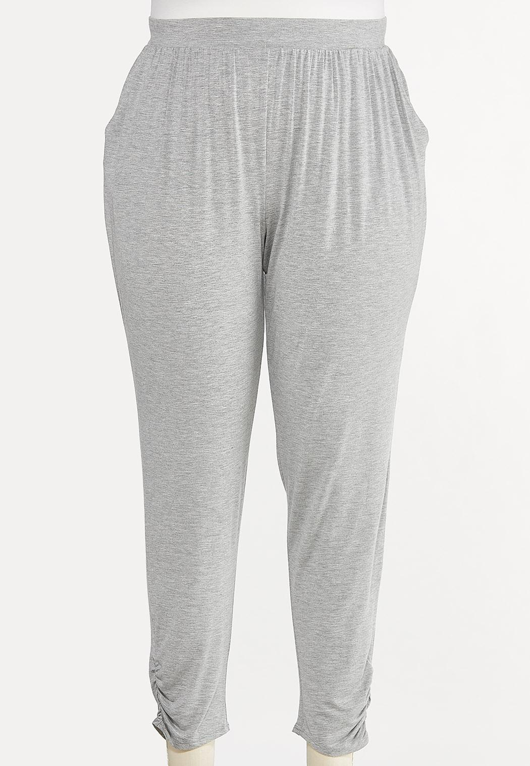 Plus Size Gray Ruched Pants