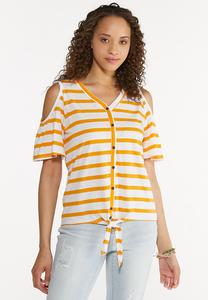 Plus Size Striped Cold Shoulder Top