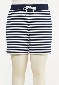 Plus Size Navy Stripe Shorts