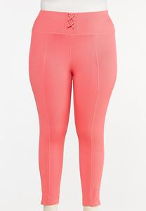 Plus Size Coral Ribbed Leggings