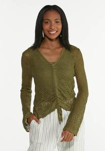 Olive Ruched Sweater