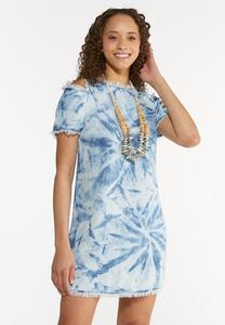 Plus Size Tie Dye Chambray Dress