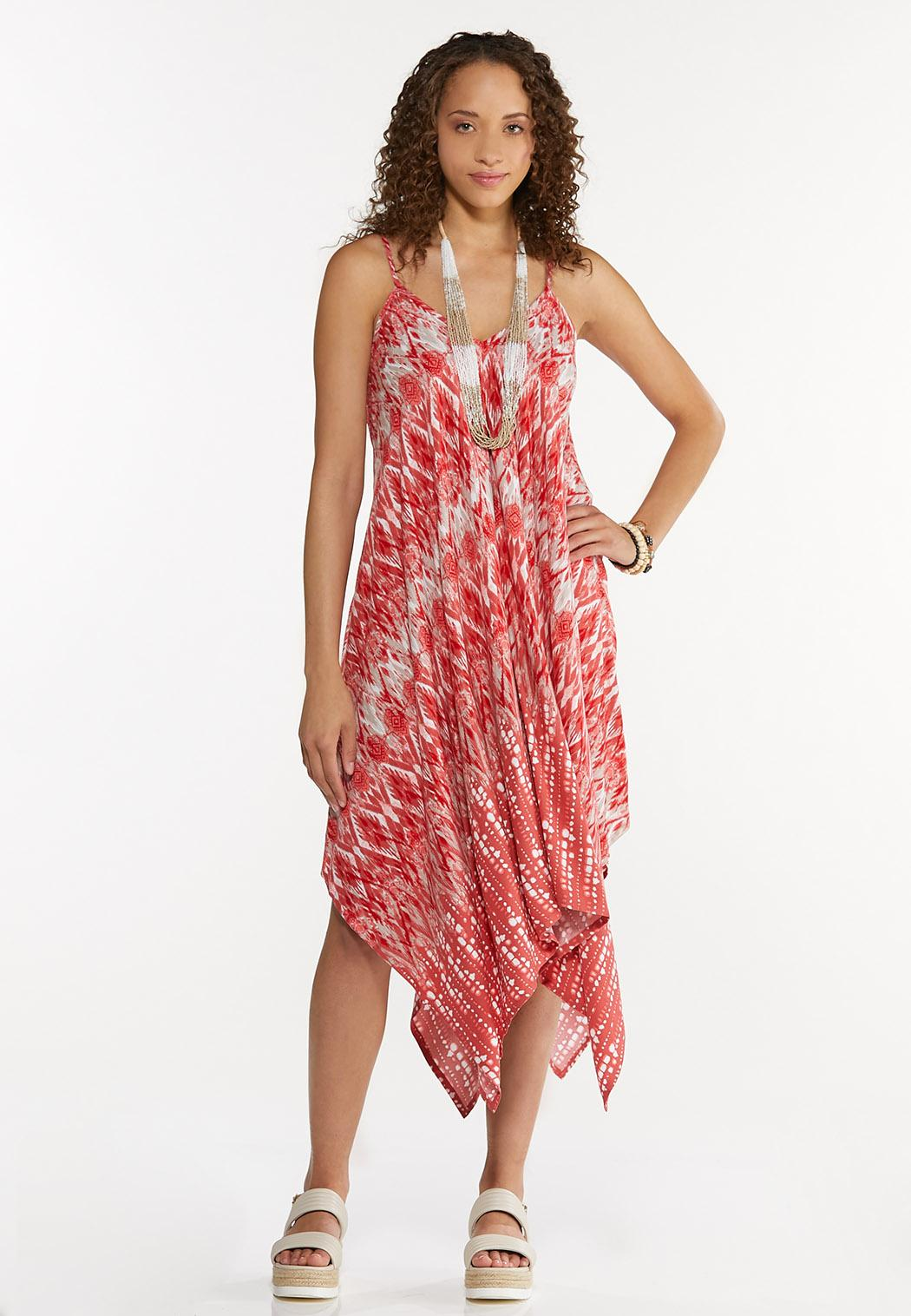Plus Size Ikat Hanky Hem Dress