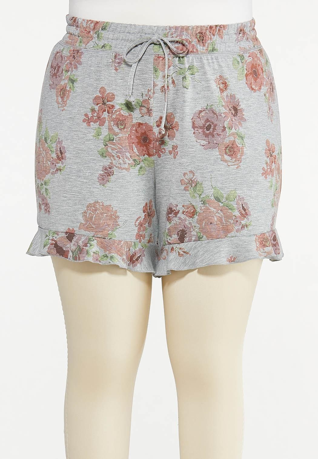 Plus Size Ruffled Floral Shorts