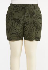 Plus Size Palm Tencel Shorts