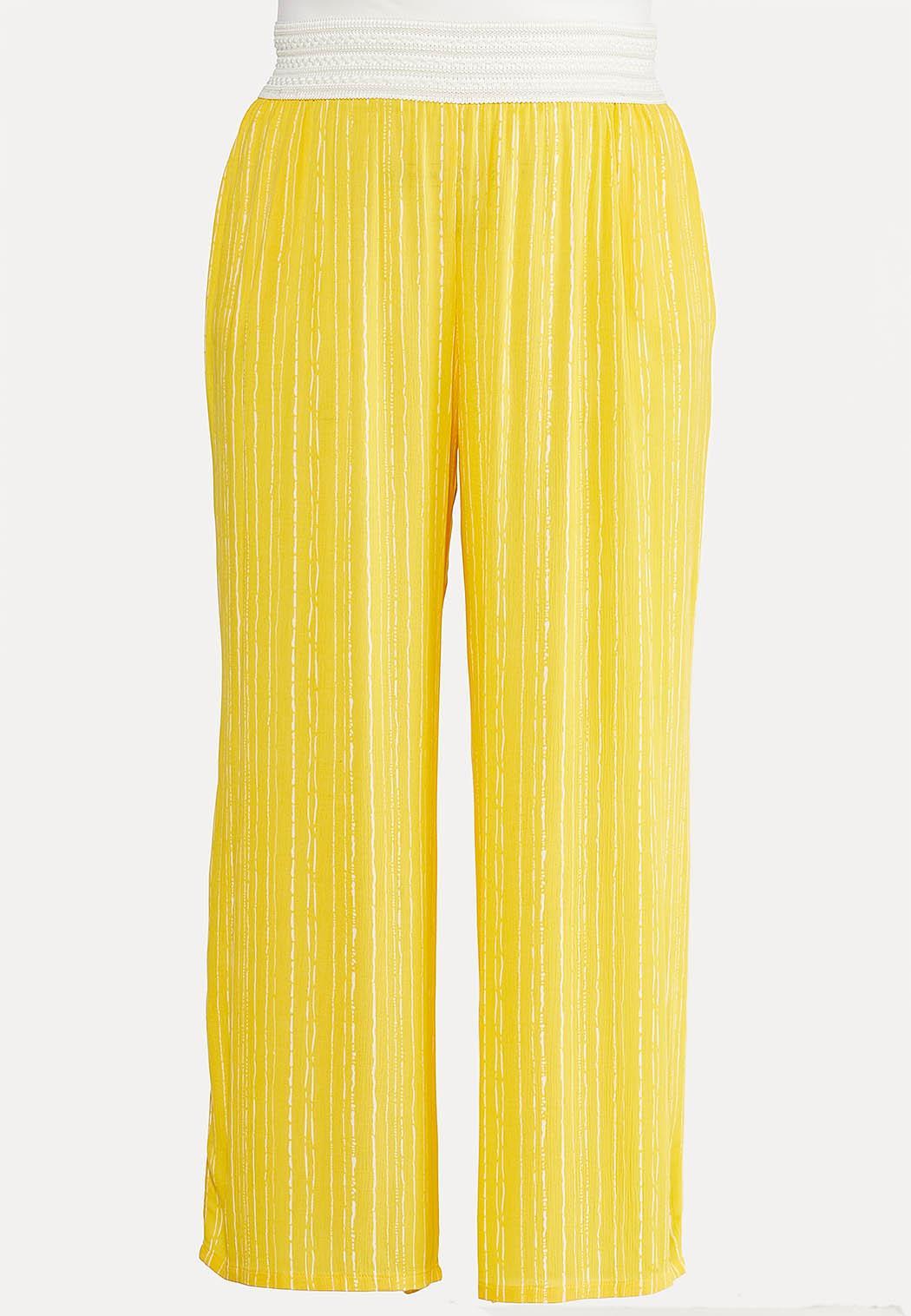 Plus Size Gold Crochet Waist Pants