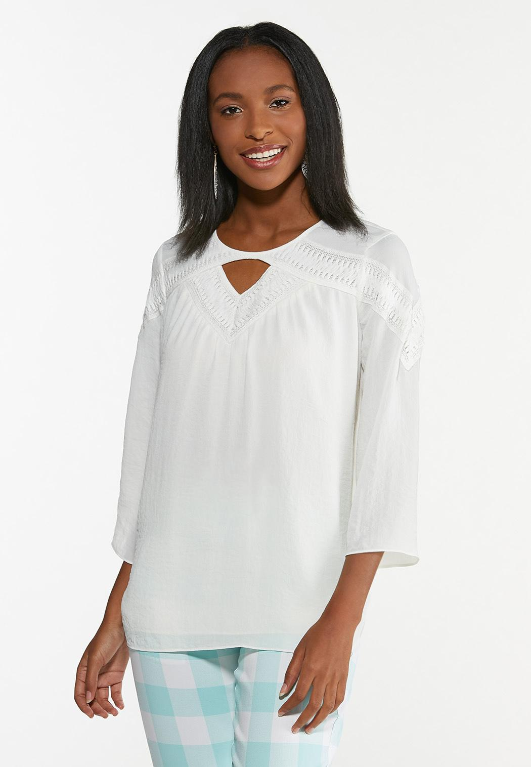 Plus Size Ivory Breeze Boho Top