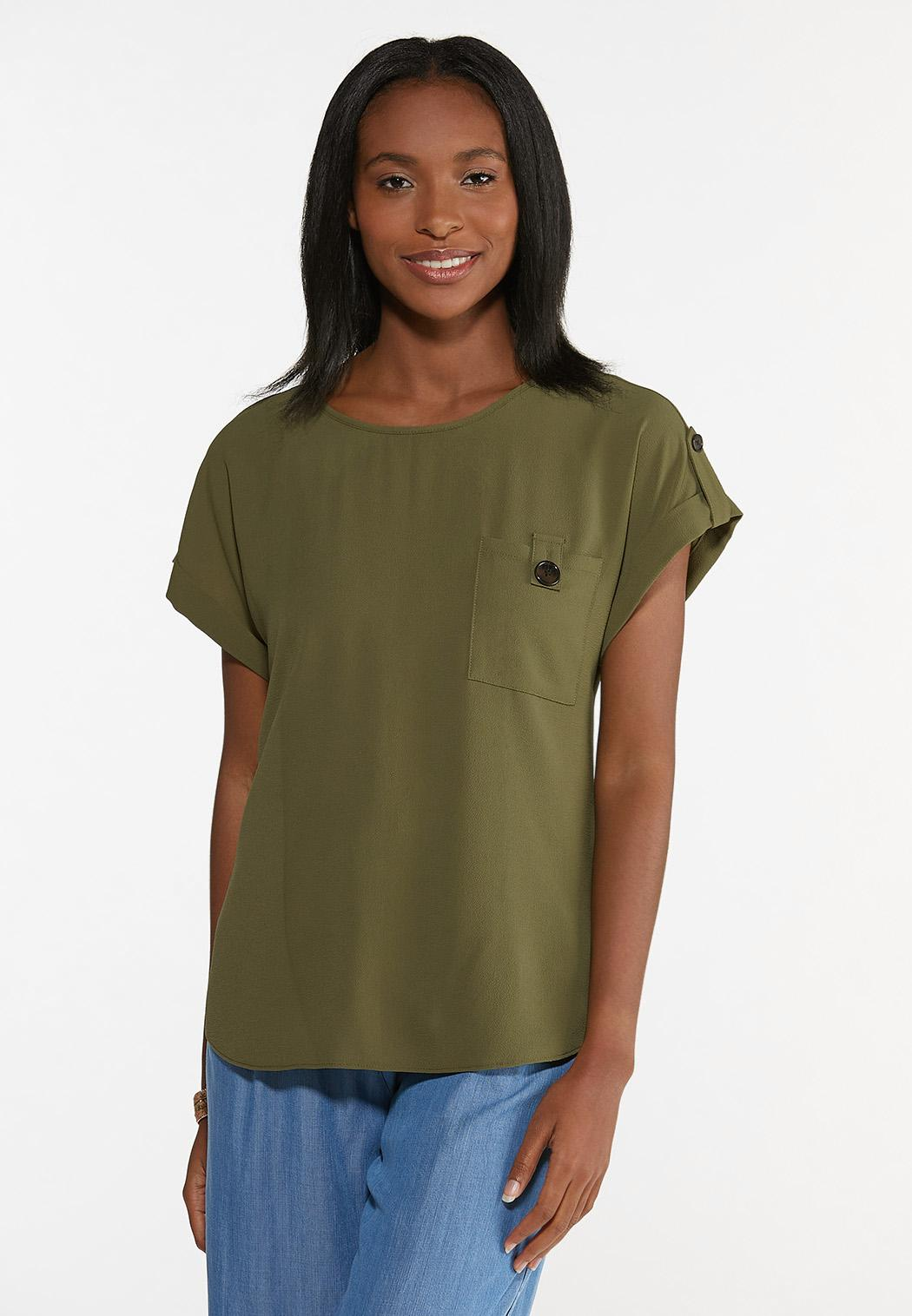 Plus Size Crepe Button Sleeve Top