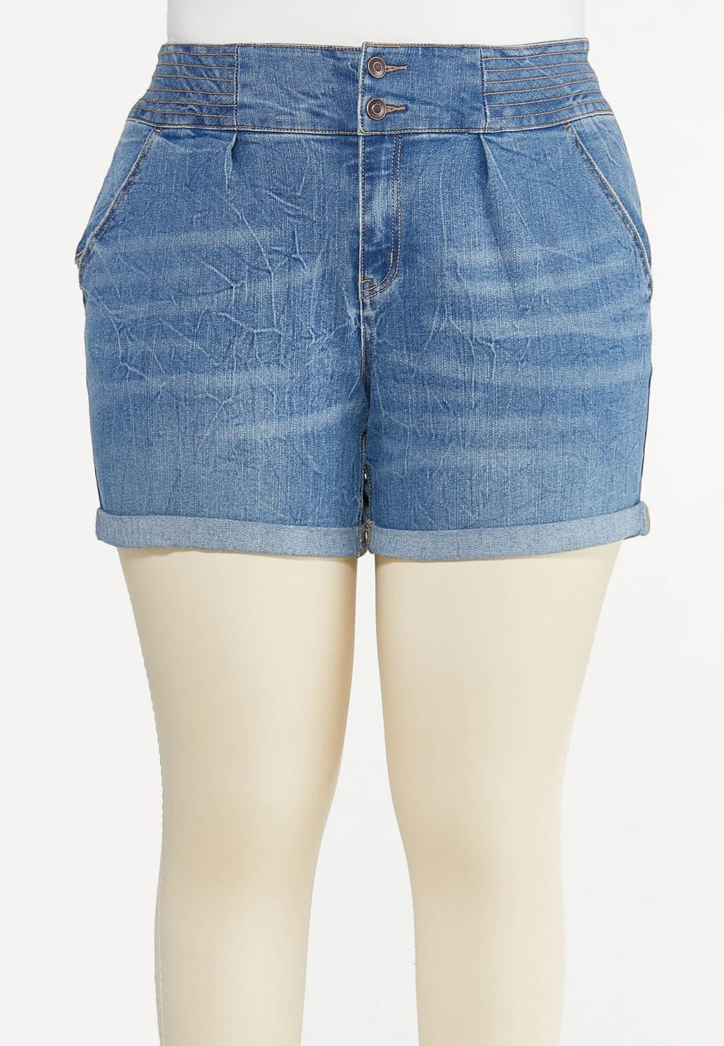 Plus Size Double Button Denim Shorts