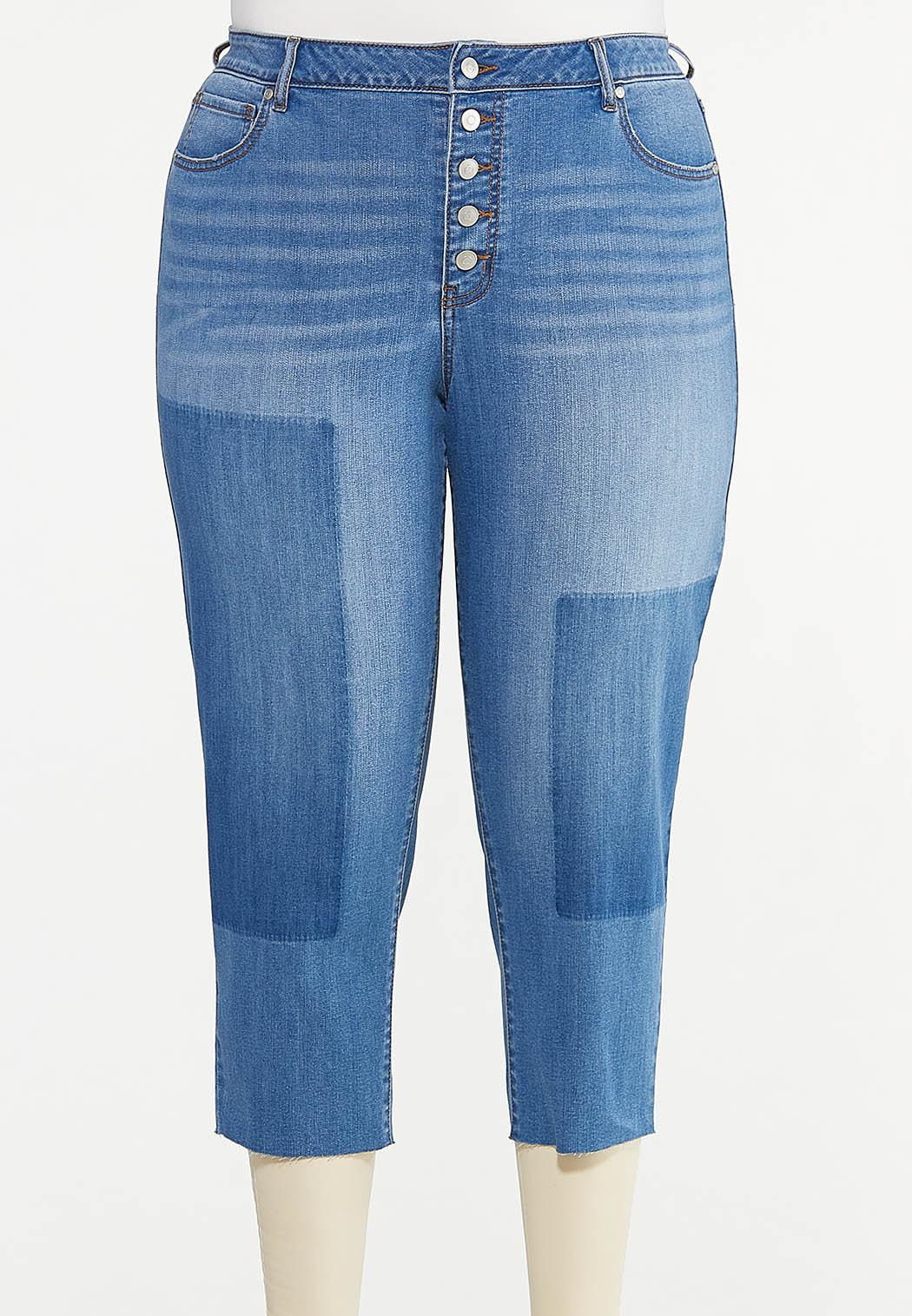 Plus Size Cropped Patchwork Jeans
