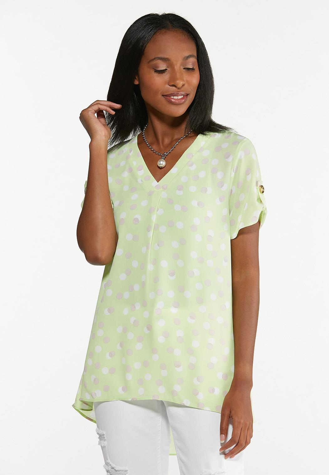 Plus Size Lime Polka Dotted Tunic